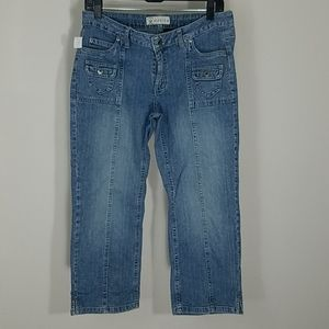 Jeans ankle cropped straight leg light wash